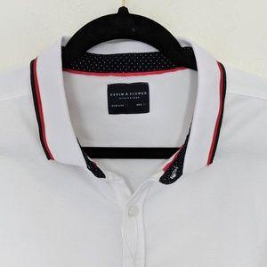 Denim & Flower Short Sleeve Button Front Polo